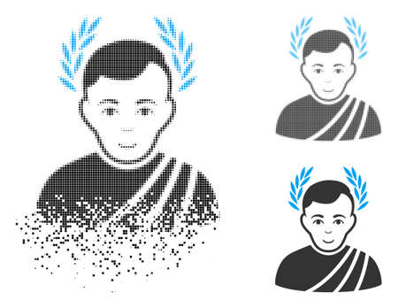 Caesar wreath icon with face in dissolved, pixelated halftone and undamaged solid variants. Particles are grouped into vector disappearing caesar wreath shape.