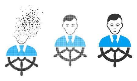 Captain icon with face in dissipated, dotted halftone and undamaged whole versions. Pieces are arranged into vector disappearing captain icon. Disappearing effect uses small particles. 일러스트