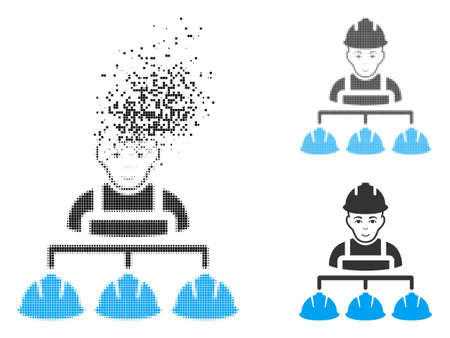 Builder management icon with face in disappearing, pixelated halftone and undamaged solid versions. Cells are combined into vector disappearing builder management icon. Ilustrace