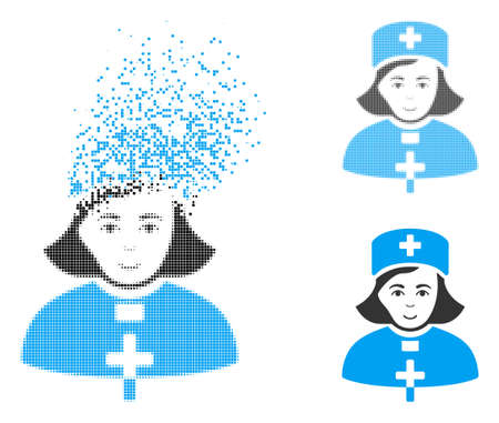 Church female doctor icon with face in dissolving, pixelated halftone and undamaged entire variants. Points are grouped into vector dissolving church female doctor form.
