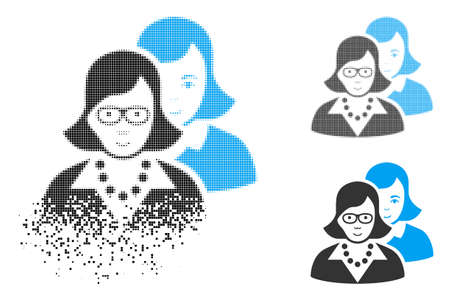 Clever women icon with face in disappearing, dotted halftone and undamaged solid versions. Fragments are organized into vector disappearing clever women shape. Disappearing effect involves small dots.