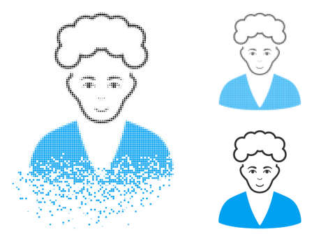 Blonde boy icon with face in disappearing, dotted halftone and undamaged solid versions. Particles are arranged into vector disappearing blonde boy icon. Disappearing effect uses small dots.