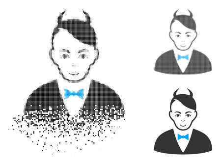 Devil icon with face in disintegrated, pixelated halftone and undamaged whole versions. Fragments are combined into vector disappearing devil symbol. Disappearing effect uses small fragments.