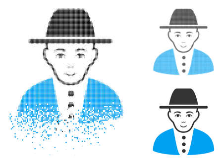 Jew icon with face in disappearing, pixelated halftone and undamaged solid versions. Cells are composed into vector disappearing jew figure. Disappearing effect involves small dots.
