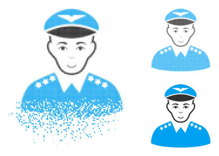 Military pilot officer icon with face in disappearing, pixelated halftone and undamaged solid variants. Particles are grouped into vector dispersed military pilot officer icon. Çizim