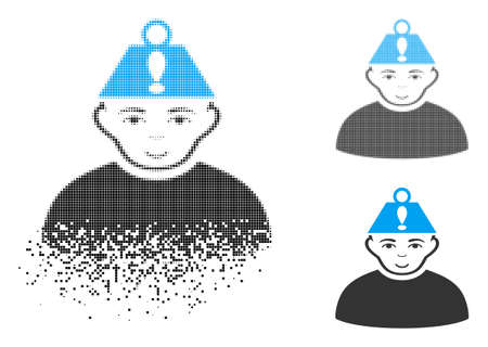 Head stress icon with face in dissipated, dotted halftone and undamaged solid versions. Points are composed into vector dissipated head stress form. Disintegration effect uses small dots. Ilustração
