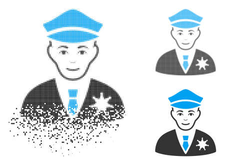 Sheriff icon with face in dispersed, pixelated halftone and undamaged entire versions. Points are combined into vector disappearing sheriff figure. Disappearing effect uses small dots. Ilustrace