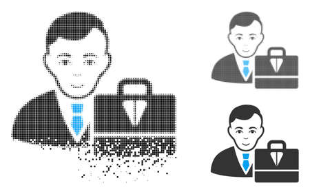 Ton accounter icon with face in disappearing, pixelated halftone and undamaged solid variants. Pixels are organized into vector disappearing ton accounter icon.