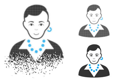 Trendy gay icon with face in dissolved, pixelated halftone and undamaged whole versions. Pieces are organized into vector disappearing trendy gay shape. Disappearing effect uses small dots. Illustration