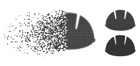Builder helmet icon in disappearing, pixelated halftone and undamaged solid variants. Cells are arranged into vector disappearing builder helmet symbol. Disappearing effect uses rectangular points.