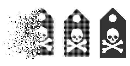 Death mark icon in disappearing, pixelated halftone and undamaged whole versions. Particles are grouped into vector disappearing death mark symbol. Disappearing effect involves rectangular dots. Illustration