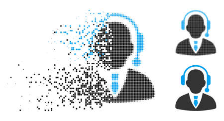 Call center operator icon in dispersed, dotted halftone and undamaged entire versions. Pixels are organized into vector dispersed call center operator icon. Ilustração