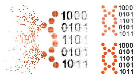 DNA code icon in disappearing, dotted halftone and undamaged entire variants. Cells are combined into vector dissipated DNA code icon. Disappearing effect involves rectangle dots.
