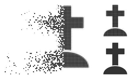 Grave icon in dissolving, pixelated halftone and undamaged solid variants. Pixels are grouped into vector dissolving grave figure. Disappearing effect uses square dots. 일러스트