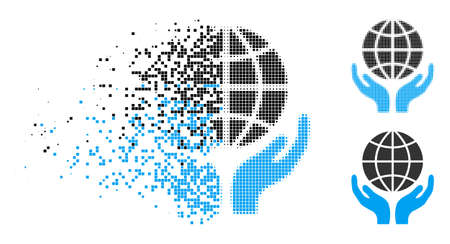 Global hands icon in dissipating, dotted halftone and undamaged whole variants. Particles are combined into vector disappearing global hands form. Disappearing effect uses rectangular particles.