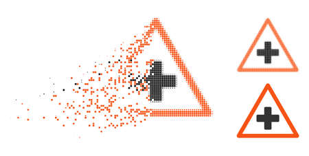 Health warning icon in disappearing, pixelated halftone and undamaged whole variants. Points are grouped into vector disappearing health warning form. Disappearing effect uses rectangle dots. Illustration