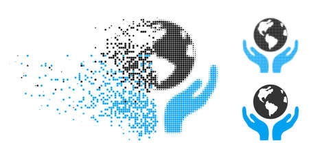 International insurance icon in disappearing, dotted halftone and undamaged whole versions. Pieces are arranged into vector dissolving international insurance icon.