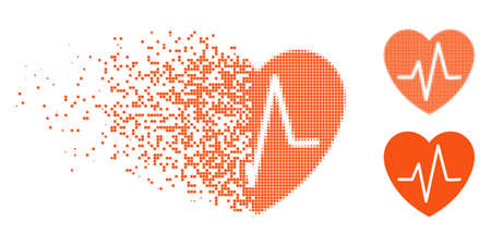 Heart EKG icon in dispersed, dotted halftone and undamaged entire variants. Pieces are composed into vector dispersed heart EKG figure. Disintegration effect uses square dots. Illustration
