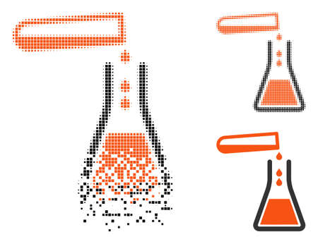 Liquid transfusion icon in dissolving, dotted halftone and undamaged whole variants. Cells are composed into vector disappearing liquid transfusion form. Disappearing effect involves square pixels. Ilustrace