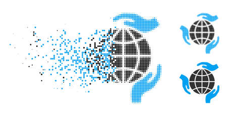 Global protection icon in dissolving, pixelated halftone and undamaged whole variants. Cells are composed into vector dissolving global protection icon. Disappearing effect uses rectangular points.