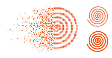 Hypnosis icon in dispersed, dotted halftone and undamaged entire variants. Points are composed into vector dispersed hypnosis pictogram. Disintegration effect uses square points. Illustration