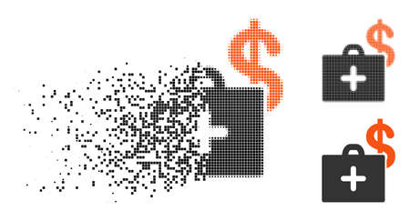 Medical fund case icon in disappearing, dotted halftone and undamaged solid variants. Particles are composed into vector disappearing medical fund case shape. Disappearing effect involves square dots. Illustration