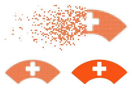 Medical visor icon in dissipating, dotted halftone and undamaged solid versions. Fragments are organized into vector dissipated medical visor icon. Disintegration effect uses square pixels.