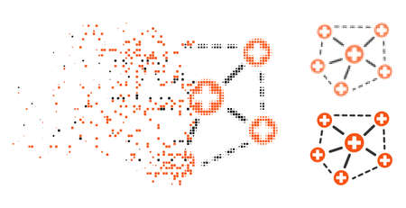 Medical network structure icon in disappearing, dotted halftone and undamaged solid versions. Particles are combined into vector disappearing medical network structure form.