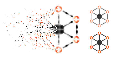 Medical network icon in disappearing, pixelated halftone and undamaged whole variants. Pieces are arranged into vector disappearing medical network symbol. Disappearing effect uses rectangle pixels.