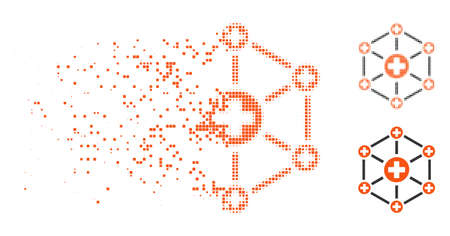 Medical network icon in dissipating, dotted halftone and undamaged entire variants. Points are grouped into vector dissolving medical network icon. Disappearing effect involves rectangle points.