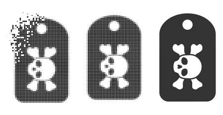 Morgue mark icon in dissolved, pixelated halftone and undamaged whole variants. Points are arranged into vector disappearing morgue mark pictogram. Disappearing effect uses rectangular points.
