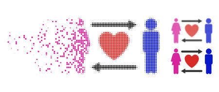 People exchange heart icon in disappearing, dotted halftone and undamaged whole versions. Pixels are arranged into vector disappearing people exchange heart form. Ilustrace