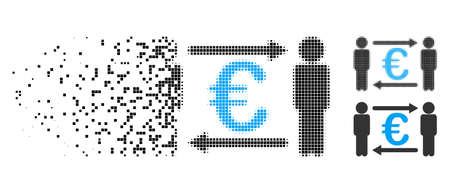 Persons exchange Euro icon in disappearing, pixelated halftone and undamaged entire variants. Pixels are arranged into vector disappearing persons exchange Euro figure. Vectores