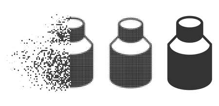 Phial icon in disappearing, dotted halftone and undamaged whole variants. Pieces are arranged into vector disappearing phial shape. Disappearing effect uses square points. Illustration