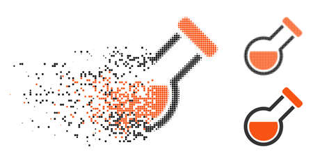 Retort icon in dissolving, dotted halftone and undamaged entire versions. Points are combined into vector dissipated retort icon. Disintegration effect uses rectangular pixels.