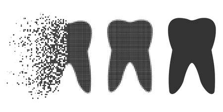Tooth icon in disappearing, pixelated halftone and undamaged entire versions. Pieces are organized into vector disappearing tooth shape. Disappearing effect involves rectangular particles. Illustration