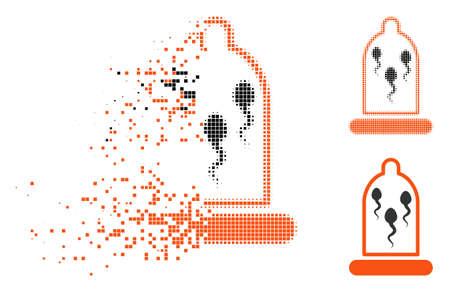 Sperma im Kondomsymbol in verschwindenden, pixeligen Halbton- und unbeschädigten ganzen Versionen. Die Punkte werden in der Kondomfigur in vektordissipierte Spermien gruppiert. Beim Verschwinden des Effekts handelt es sich um Rechteckpunkte. Vektorgrafik