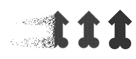 Male sexual potence icon in disappearing, pixelated halftone and undamaged whole versions. Elements are composed into vector disappearing male sexual potence figure.