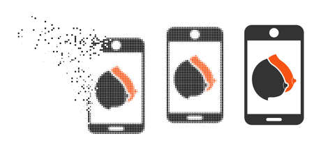 Mobile erotic tits icon in dispersed, pixelated halftone and undamaged whole variants. Elements are arranged into vector dispersed mobile erotic tits pictogram.