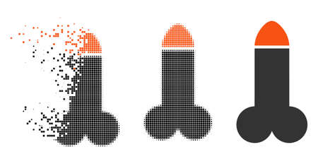 Dildo icon in disappearing, pixelated halftone and undamaged entire versions. Elements are composed into vector dissipated dildo icon. Disappearing effect involves rectangle points. Reklamní fotografie