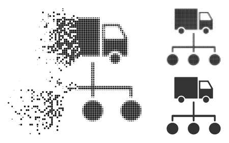 Lorry distribution scheme icon in dissipating, pixelated halftone and undamaged whole variants. Particles are organized into vector disappearing lorry distribution scheme pictogram. Illustration