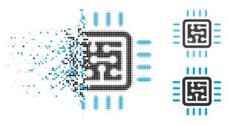 CPU circuit icon in disappearing, pixelated halftone and undamaged solid versions. Pixels are combined into vector disappearing CPU circuit pictogram. Disintegration effect uses rectangle pixels. Vectores