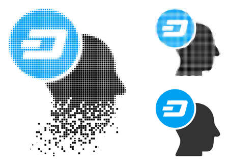 Dash thinking head icon in disappearing, dotted halftone and undamaged entire versions. Points are organized into vector disappearing Dash thinking head form. 일러스트