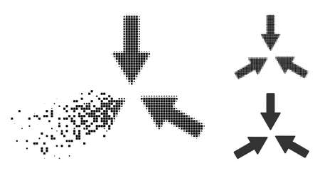 Collide 3 arrows icon in disappearing, dotted halftone and undamaged entire variants. Points are organized into vector disappearing collide 3 arrows symbol. Illustration