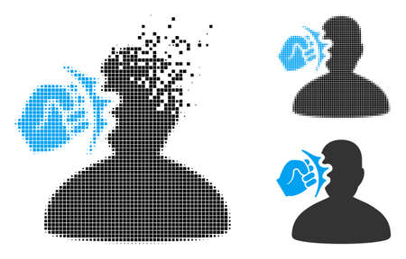 Head strike icon in disappearing, pixelated halftone and undamaged entire variants. Points are arranged into vector disappearing head strike icon. Disappearing effect uses rectangle pixels. Illustration