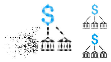 Bank expenses icon in disappearing, pixelated halftone and undamaged whole variants. Pixels are composed into vector dissolving bank expenses pictogram. Disappearing effect involves square pixels. Ilustrace
