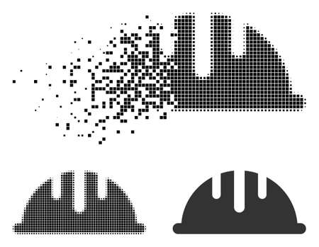 Helmet icon in disappearing, dotted halftone and undamaged entire variants. Cells are grouped into vector disappearing helmet figure. Disappearing effect involves square pixels. Illustration
