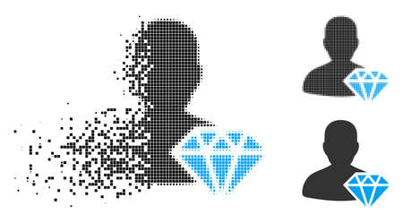 Goldsmith icon in fractured, dotted halftone and undamaged solid versions. Points are composed into vector dissolving goldsmith icon. Disappearing effect uses rectangular dots. Stock Illustratie