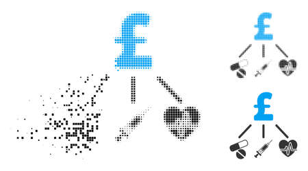 Medical pound budget icon in dispersed, pixelated halftone and undamaged whole versions. Cells are organized into vector disappearing medical pound budget pictogram.