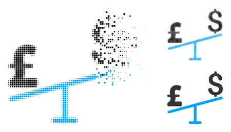 Dollar pound swing icon in disappearing, pixelated halftone and undamaged solid versions. Fragments are arranged into vector disappearing dollar pound swing form. Disappearing effect uses square dots.